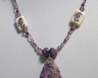Purple Seahorse with flowers Crazy agate pendant necklace