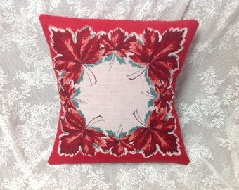 Vintage Maple Red leaf Pillow