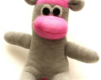 Pink and Grey Sock Monkey