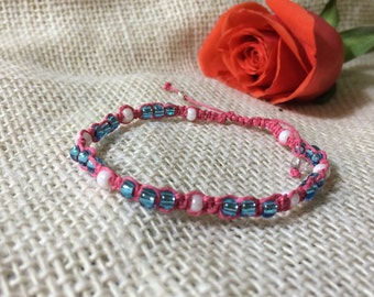 Pink and blue braided bracelet
