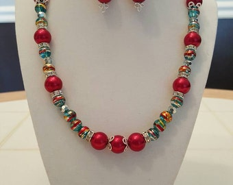 Ruby Red Pearls - Necklace with Matching Earrings