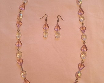 Sparkly pink and clear necklace and earring set