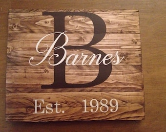 Custom family name sign, wood family sign, custom sign, wood last name sign, wedding gift, pallet wood, rustic family sign, personalized