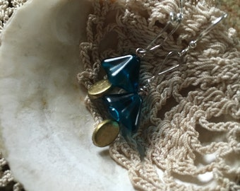 Blue belle and metal dangle