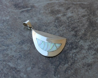 White Opal and Sterling Silver Statement Pendant (Large)