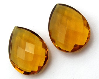 2 Pcs 1 Match Pair 20x15 mm Beer Quartz Faceted Pear Briolettes, Jewelry Making, Drill Hole You Choose, BR175