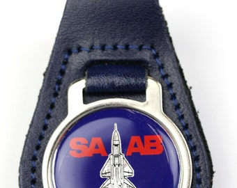 SAAB 900 Fighter Round Blue Leather Keyfob Keyring (Underside)