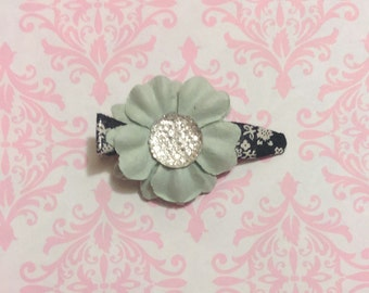 "Mint Green Flower Barrette, ""Cora"""