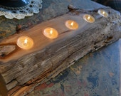 Rustic Cherry Log Tealight Candleholder