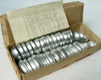 Set of 40 Vintage Metal Baking Forms, Baking Molds, Biscuit Nuts Forms, Kitchen Appliances, Soviet Style, Latvia, 1970s