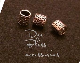 Silver and Black Dot Dreadlock Jewelry