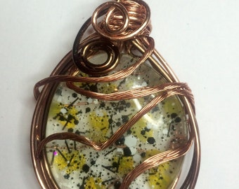 Yellow, black glass wire wrapped pendant
