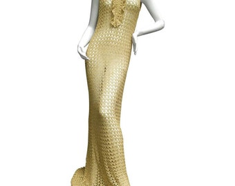 Slinky Gold Metallic Crochet Gown. 1960's.