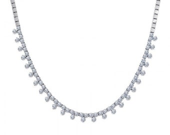 2.75 Carat Diamond Triplet Cluster 14K White Gold Necklace