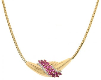 1.90 Carat Marquise Ruby and Diamond Estate 14K Yellow Gold Necklace