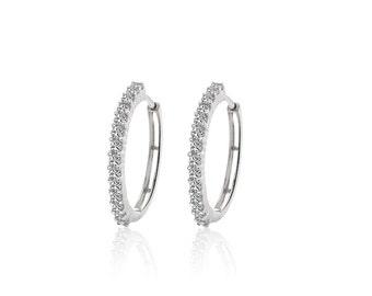 0.75 Carat Diamond Eternity Hoop Earrings 14K White Gold