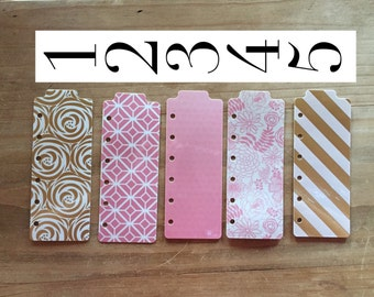Planner bookmark / page marker in fun pink blush and gold theme - planner accessories / pocket / personal / A5 planner