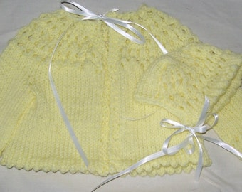 Baby Sweater and Bonnet -  Hand Knit Size 0-3 months