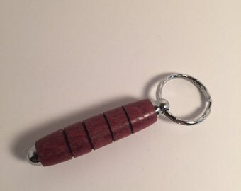 Purple Heart Wood Key Chain in  Chrome - Ready To Ship!