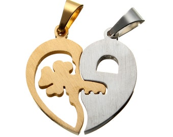 DIY Couple Heart Key Boy Girl Lovers Pendant For Necklace Jewelry