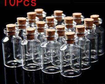 10 Mini Clear Wishing Message Glass Bottles 18x40mm