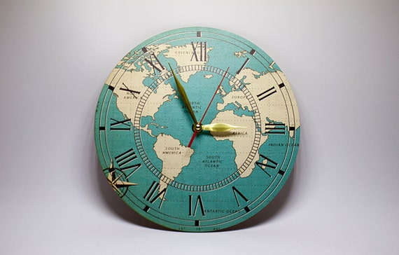 Discount Wooden wall clock Geographical wall clocks Large