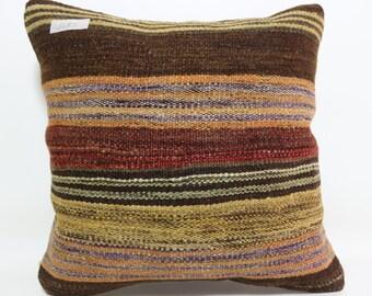 16x16 Striped Kilim Pillow Brown Pillow boho pillow floor pillow Ethnic Pillow throw pillow home decor Natural pillow Cover SP4040-1483