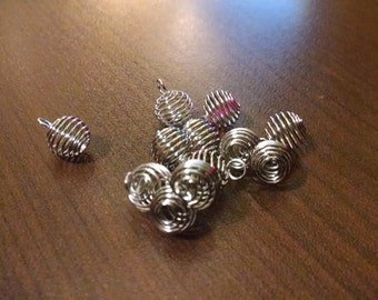 10pcs - 8 mm Spiral Bead Cage - Silver Plated - Small Bead Cage - Jewelry Findings - Gem Cage B17