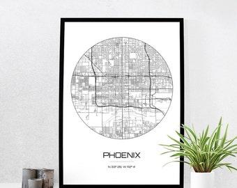 Phoenix Map Print - City Map Art of Phoenix Arizona Poster - Coordinates Wall Art Gift - Travel Map - Office Home Decor