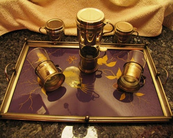 Antique tray with glasses of coffee, Cup
