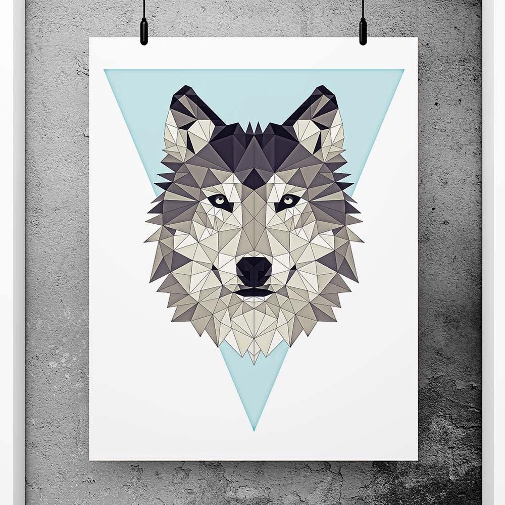 Wolf Poster Geometric Art Blue Wall Decor Minimalist