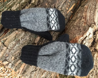 Felted Wool Mittens made from Repurposed Sweaters Gray Black Fair Isle