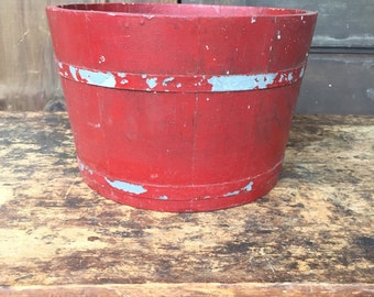 Wood Bucket in Red Paint