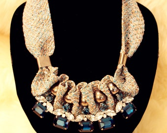 Blue Frontal Bib Necklace in Fabric Chain