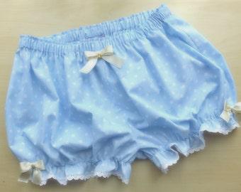 Made to order! Baby blue polka dot bloomers with cute pocket at back - lolita, kawaii, fairy kei
