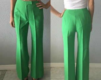 1970's Green High Waisted Wide Leg Polyester Pants by Jackfin New York