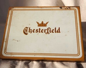 CHESTERFIELD Vintage CIGARETTE TIN from the 1930's - made by Liggett's Myers Tobacco Co.