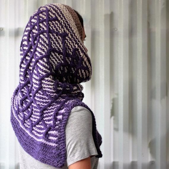 Hooded Neck Warmer Knitting Pattern : Knitting pattern, Patron tricot PDF   Cadence Cowl Shawl, hand knitted, multi...