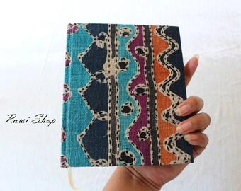 classic handmade notebook, diary, journal, sketch book, scrapbook, Thai batik hemp fabric cover, unlined green read paper
