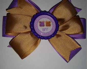Peanut butter and jelly BFF hair bow set
