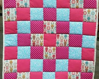 Nursery bedding  - pink bunny patchwork baby quilt- handmade  - baby accessories - playmat - quilt - baby blanket - newborn gift - cot quilt