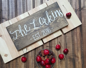Small Last Name Sign, Established Sign, Personalized Family Name sign, Rustic Wood Decor, Housewarming Gift, Wedding Gift, Anniversary Gift