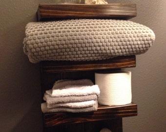 Bathroom Shelf and Towel Rack with Metal Hooks, Bathroom Storage