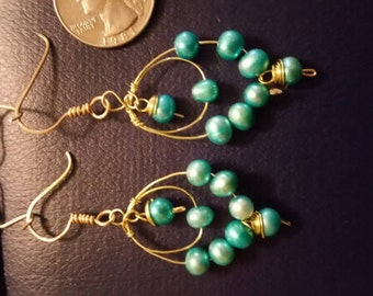 Fresh water pearls dangle earrings
