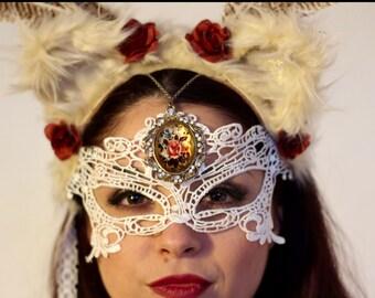Cream and Lace Sophisti-cat, Cat Ears Headpiece, Headdress, Faux Fur Feline Headband, Vintage Jewellery, Lace Mask, Red Roses