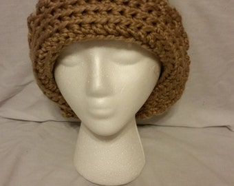Large Green and Brown Cloche Hat