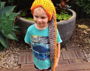 Warm, toasty, camp-fire inspired crocheted beanie