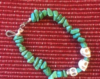 Turquoise beaded skull bracelet