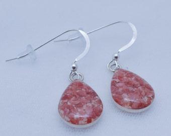 Bermuda Pink Sand Tear Drop Earrings in Sterling Silver