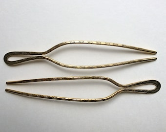stamped brass hairpin